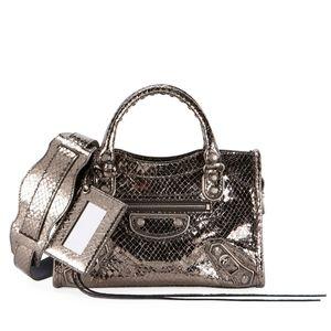 Balenciaga Metallic Edge City Snake-Embossed Bag